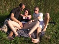 buiten sex trio met de mooie eva
